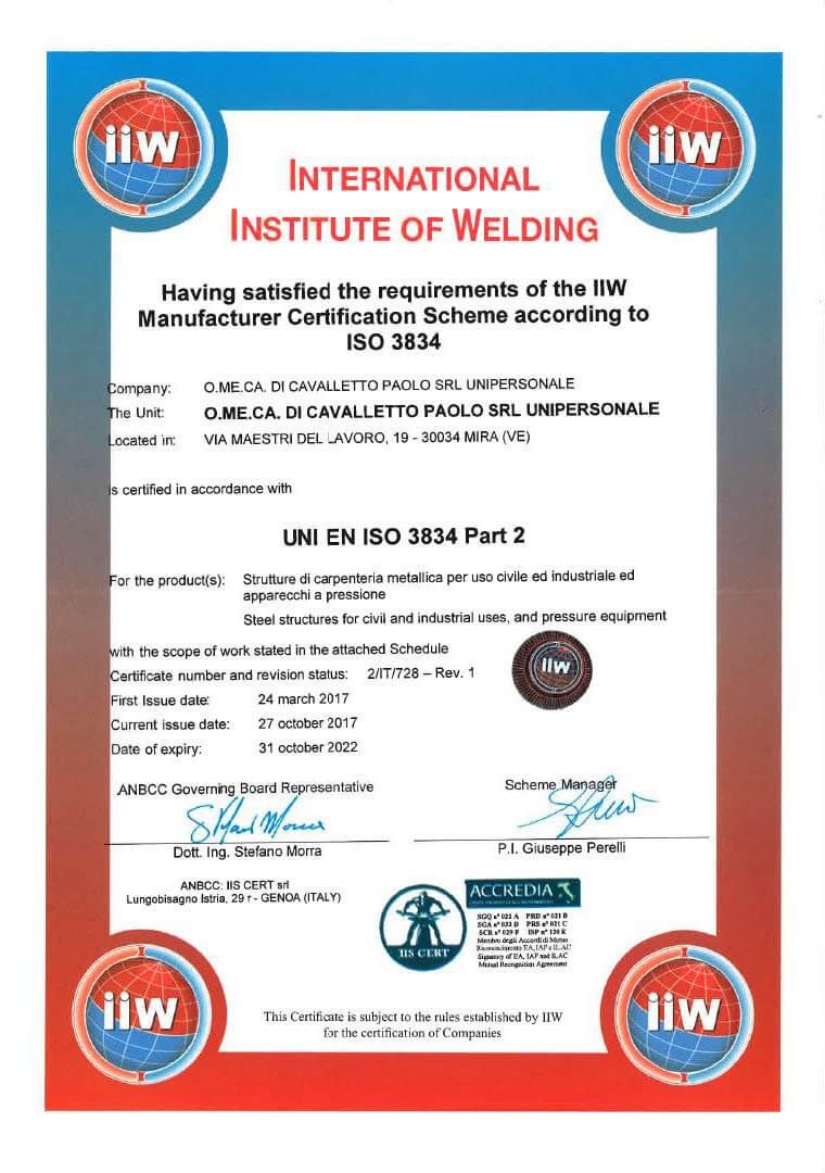 2017 Cert. UNI EN ISO 3834 Pagina 3