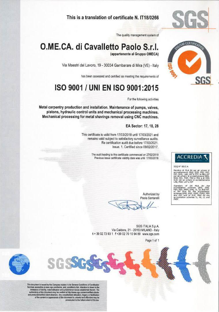 Iso 9001 Cert. 18-0266 ENG