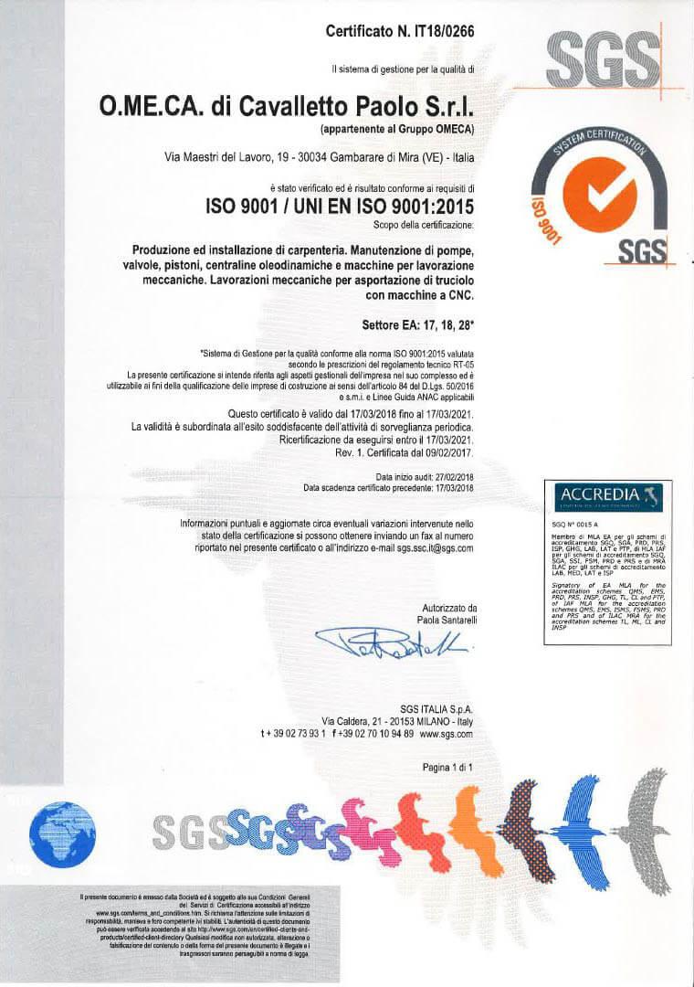 Iso 9001 Cert. 18-0266 ITA